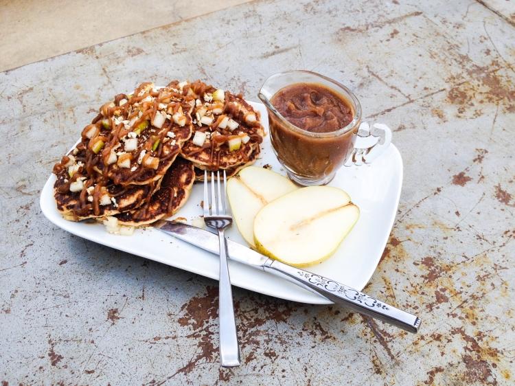 Date Caramel, Pear & Pecan Pancakes